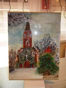 Szopka namalowan na szkle przedstawia kościół