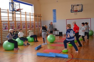 Grupa seniorów ćwiczy na sali gimnastycznej, część siedzi na piłkach, kilka stoi na przeciwko z jedną nogą na gumowym dysku