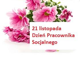 leżący bukiet różowych kwiatów, obok napis 21 listopada Dzień Pracownika Socjalnego