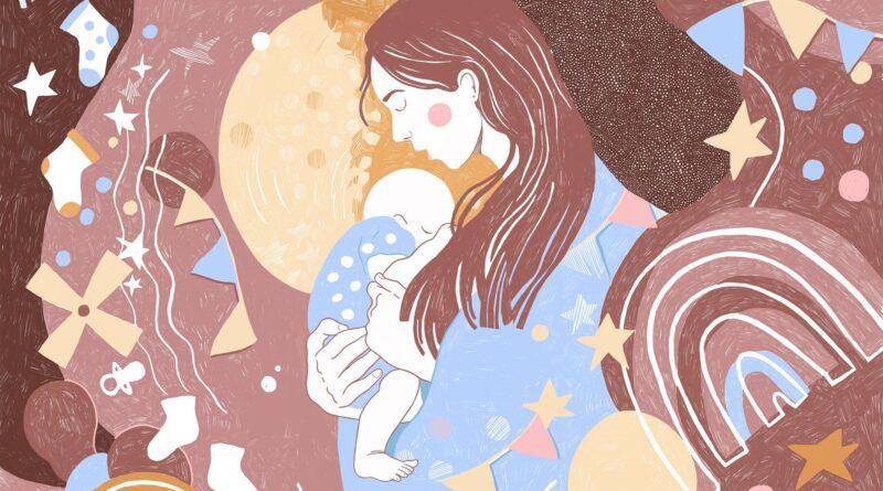 grafika przedstawiająca młodą kobietę z niemowlakiem na rękach