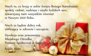 kartka z życzeniami na Boże Narodzenie