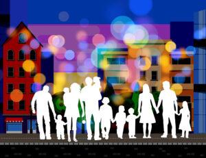 grafika przedstawiająca rodziny na tle budynków