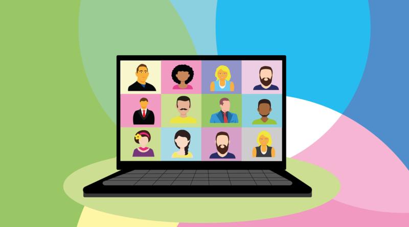 na rysunku widać otwarty laptop z portretami różnych osób